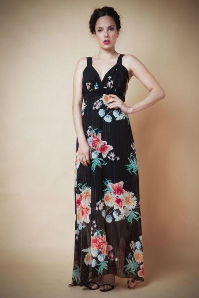 Vestido en Gasa largo en gasa combinación en span negro. Cómoda , venta de ropa mayorista en el barrio de Flores. Fabricantes de Vestidos , Blusas , Enteritos y Palazzos.