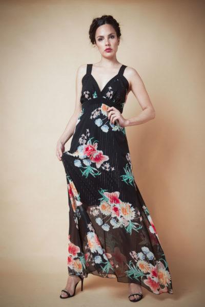 Vestido en gasa combinación en span negro. Cómoda , venta de ropa mayorista en el barrio de Flores. Fabricantes de Vestidos , Blusas , Enteritos y Palazzos.