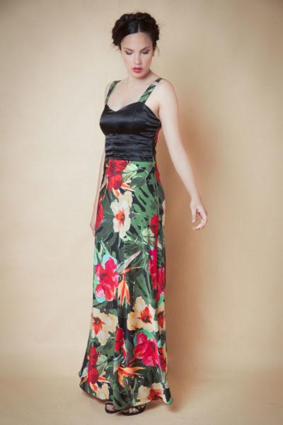 Vestido de raso combinación estampado. Cómoda , venta de ropa mayorista en el barrio de Flores. Fabricantes de Vestidos , Blusas , Enteritos y Palazzos,